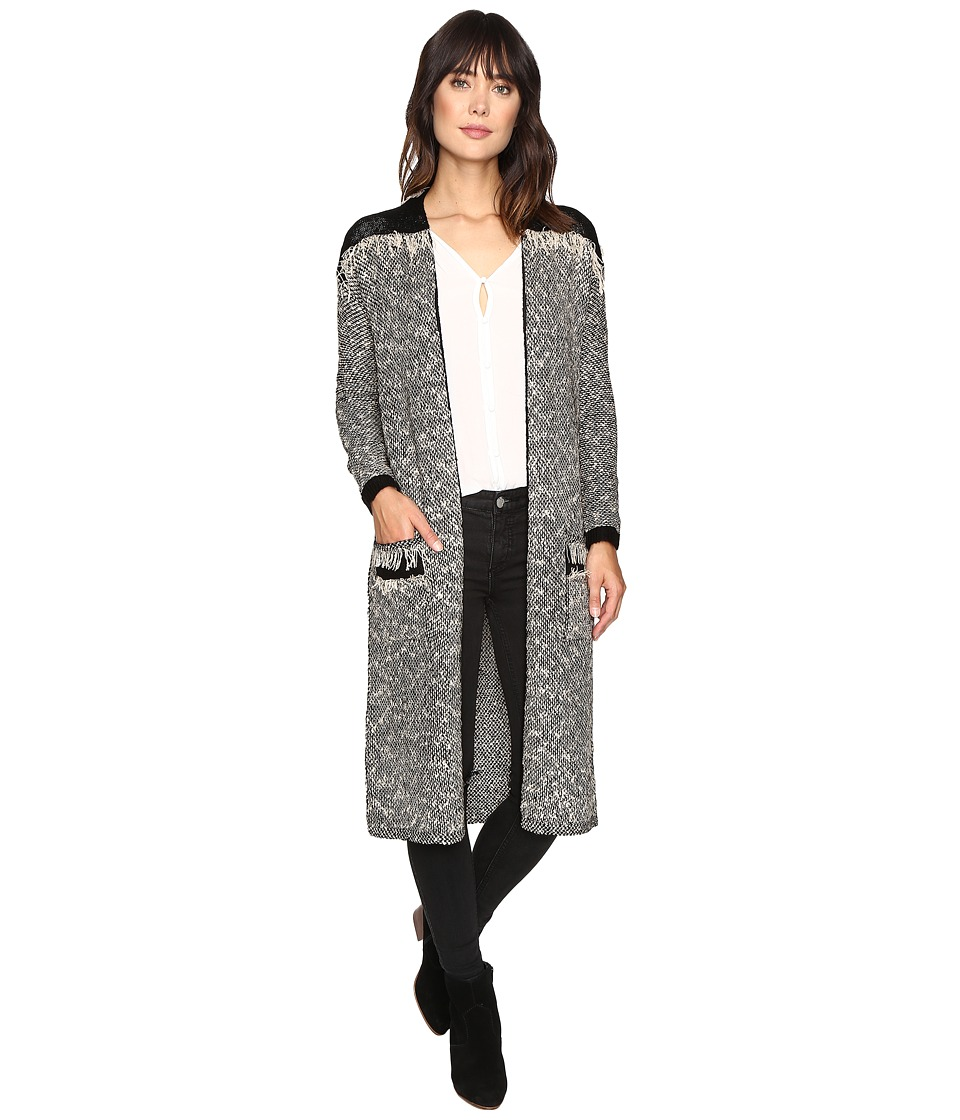 Brigitte Bailey - Clover Long Sleeve Cardigan with Fringe Detail (Black/Ivory) Women's Sweater