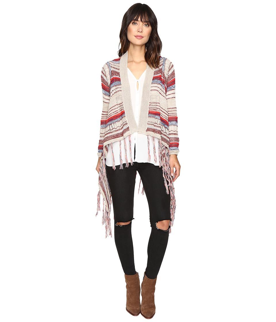 Brigitte Bailey - Zinnia Long Sleeve Crocheted Cardigan (Ivory/Pink) Women's Sweater