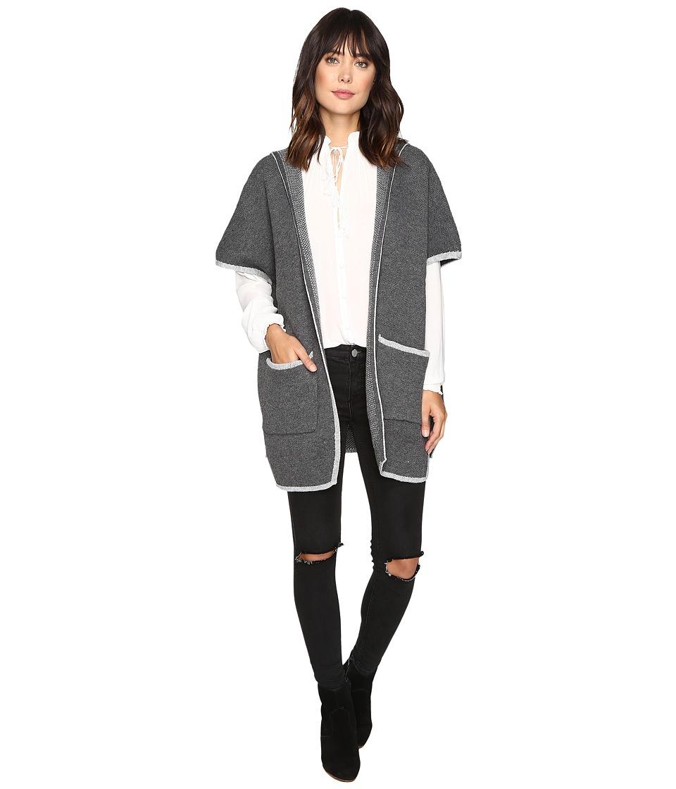 Brigitte Bailey - Adley Short Sleeve Cardigan (Charcoal) Women's Sweater