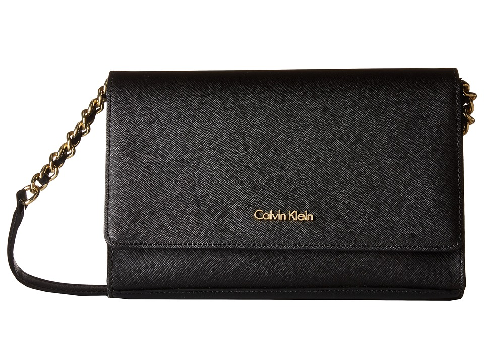 Calvin Klein - Key Items Saffiano Demi (Black/Gold) Handbags
