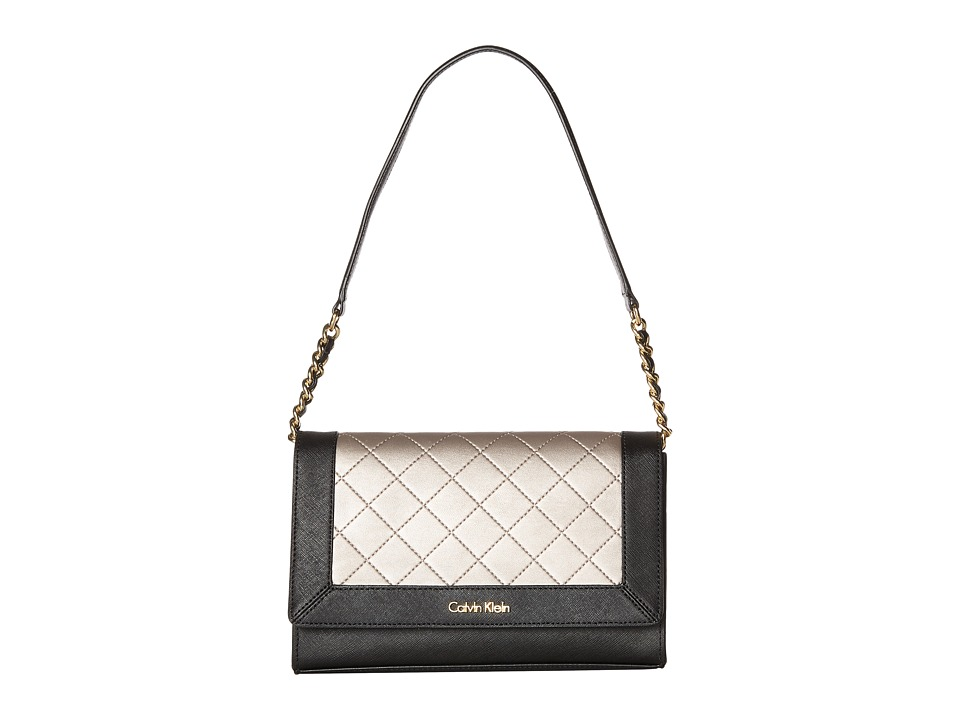 Calvin Klein - Key Items Saffiano/Fara Demi (Black/Metallic Taupe) Handbags