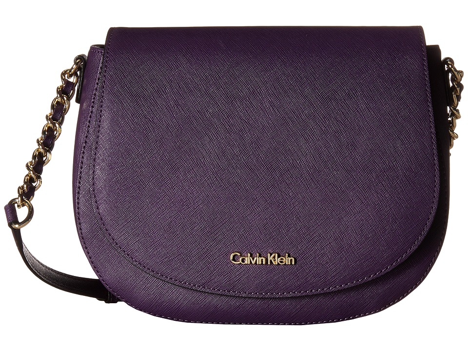 Calvin Klein - Key Items Saffiano Saddle Bag (Acai) Handbags