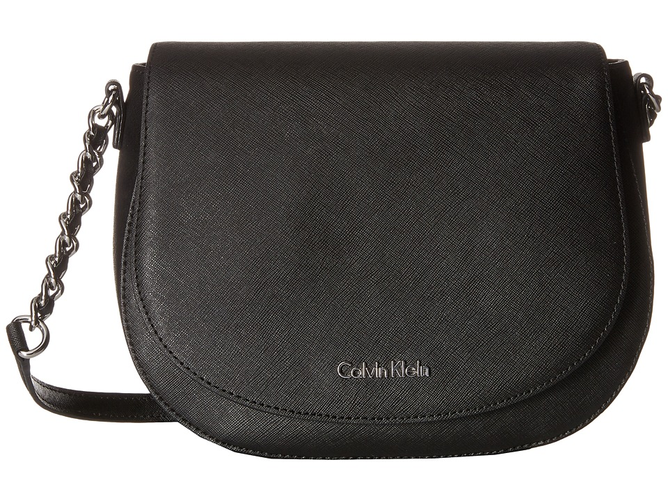 Calvin Klein - Key Items Saffiano Saddle Bag (Black/Silver) Handbags