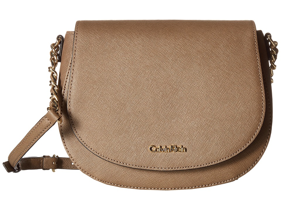 Calvin Klein - Key Items Saffiano Saddle Bag (Dark Taupe) Handbags