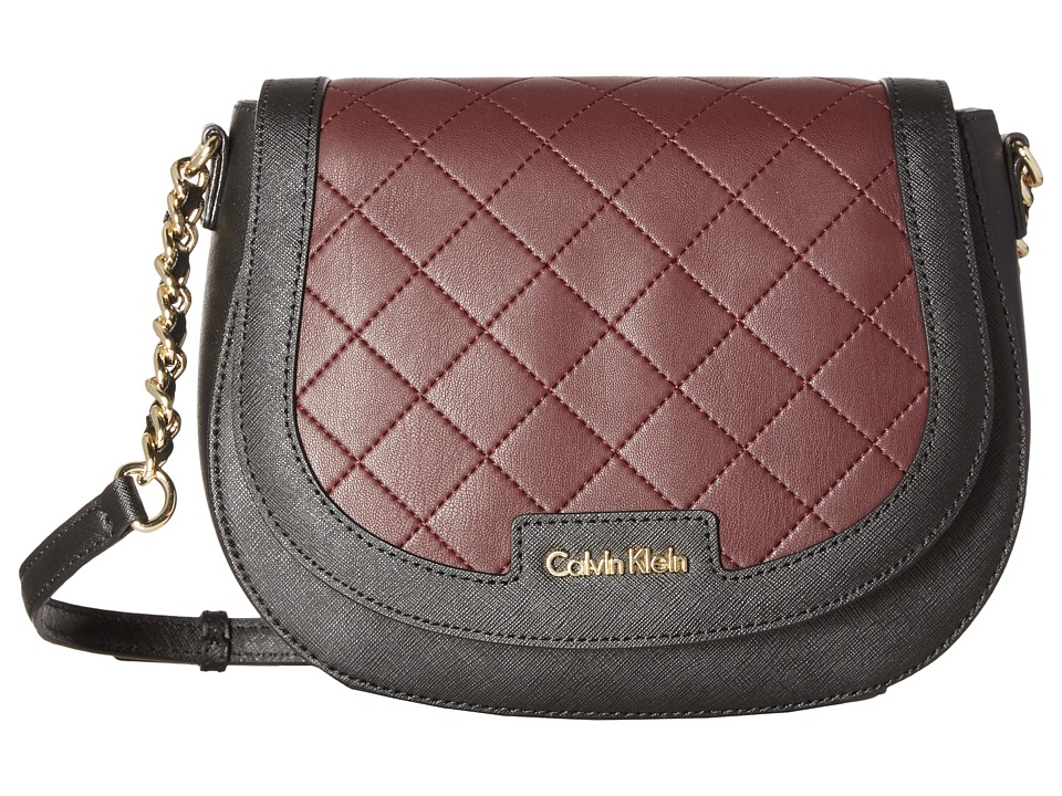 Calvin Klein - Key Items Saffiano Saddle Bag (Black/Rum Raisin Quilt) Handbags