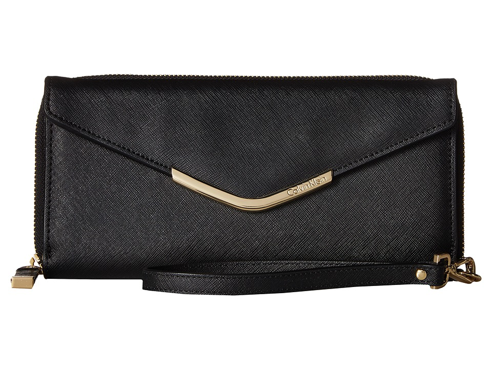 Calvin Klein - Saffiano Wallet (Black/Gold) Wallet Handbags