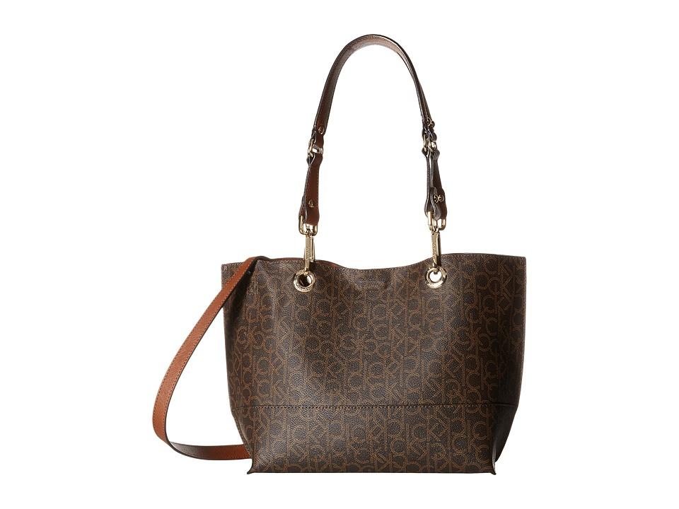 Calvin Klein - Sonoma Monogram Shopper (Brown/Khaki/Luggage) Handbags