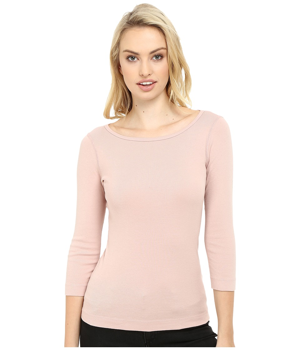 Three Dots 3/4 Sleeve British Tee (Pink Bloom) Women