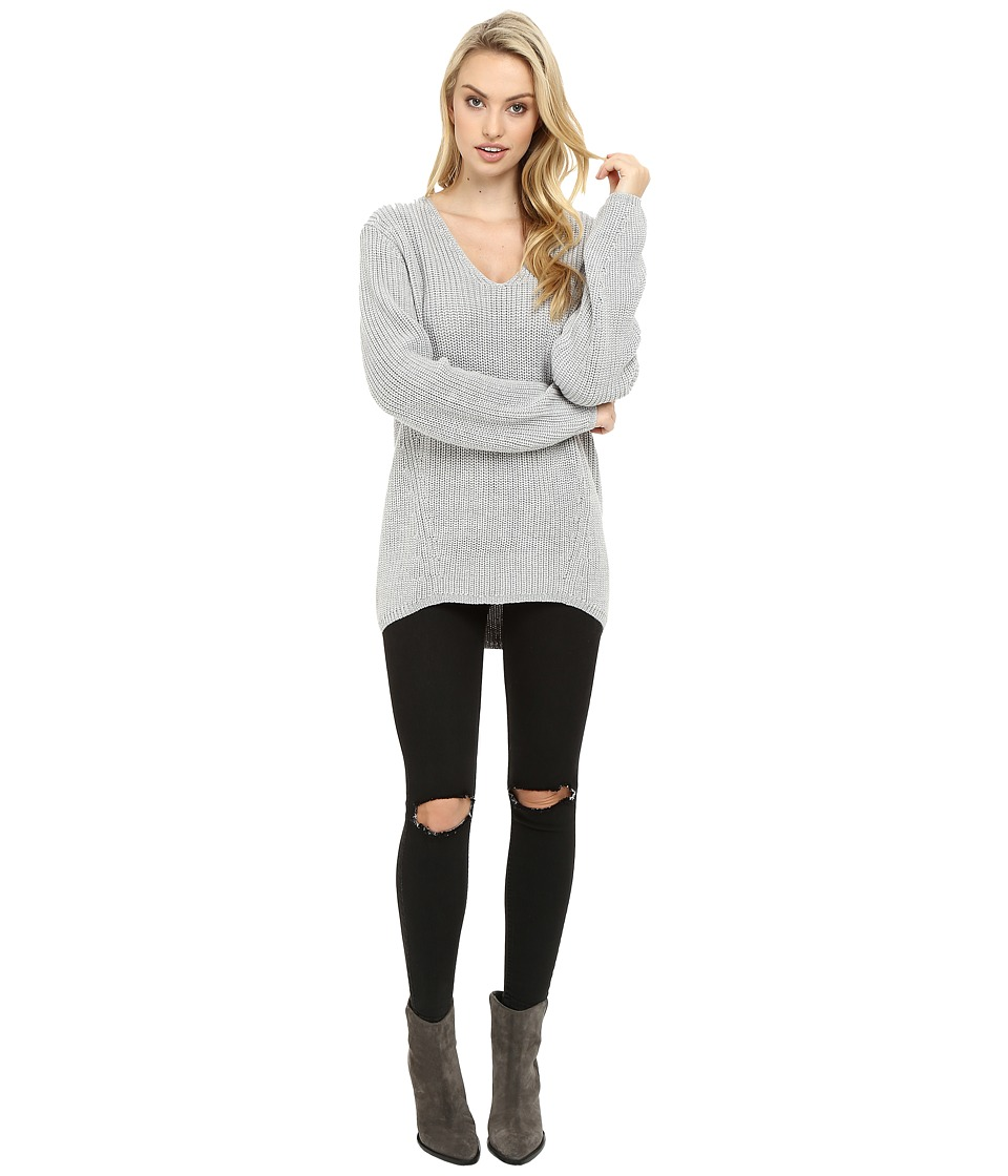 Three Dots - Willa - Slouchy V-Neck (Granite) Women's Clothing