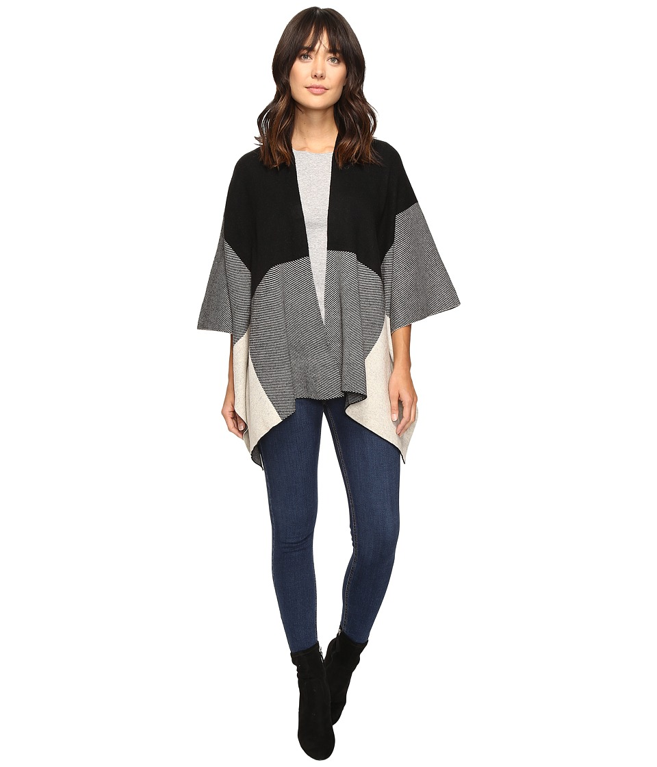 Christin Michaels - Kalla Wrap Shawl (Black/Ivory) Women's Clothing
