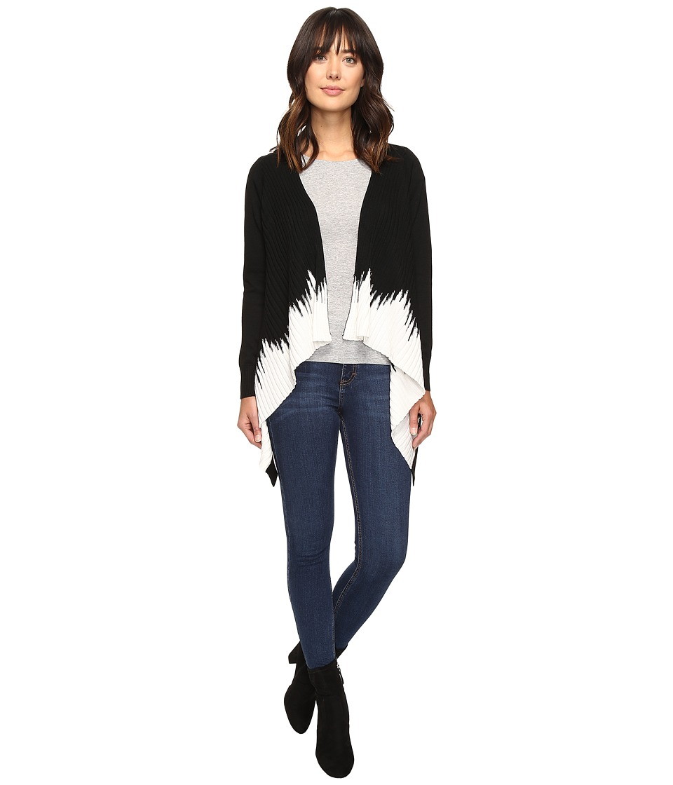 Christin Michaels - Diem Two-Tone Ribbed Cardigan (Black/Ivory) Women's Sweater