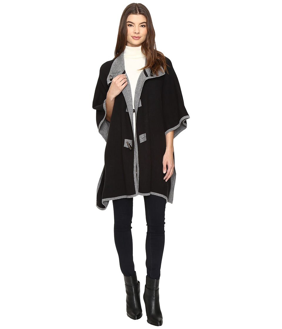 Christin Michaels - Armelle Poncho with Buttons (Black/Charcoal) Women's Clothing