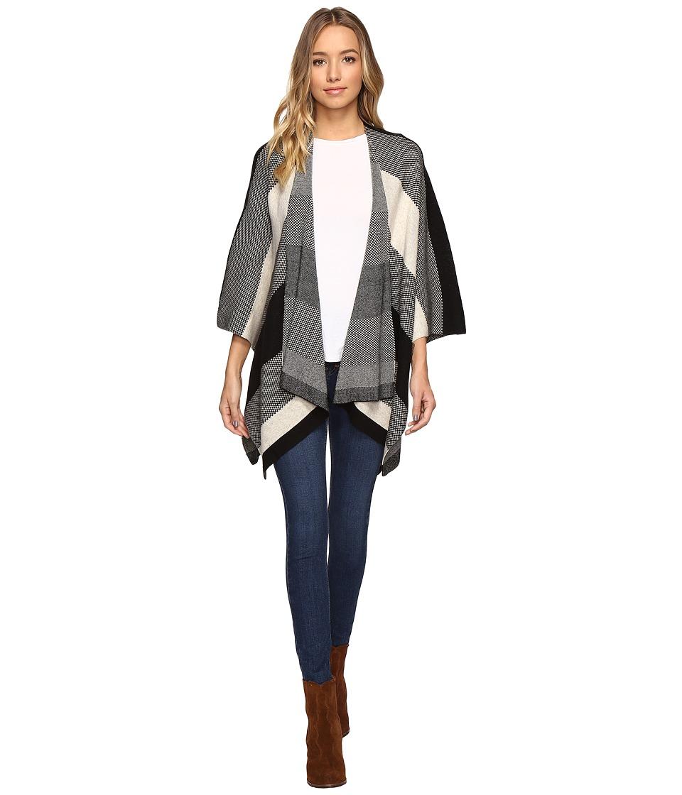 Christin Michaels - Gracen Striped Shawl (Black/Ivory) Women's Clothing