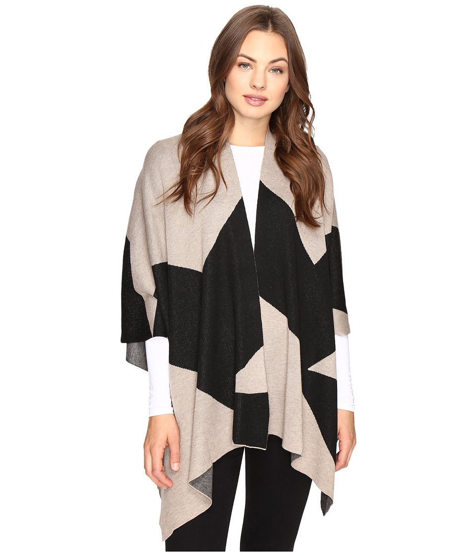 Christin Michaels - Grecia Striped Shawl (Tan/Black) Women's Clothing