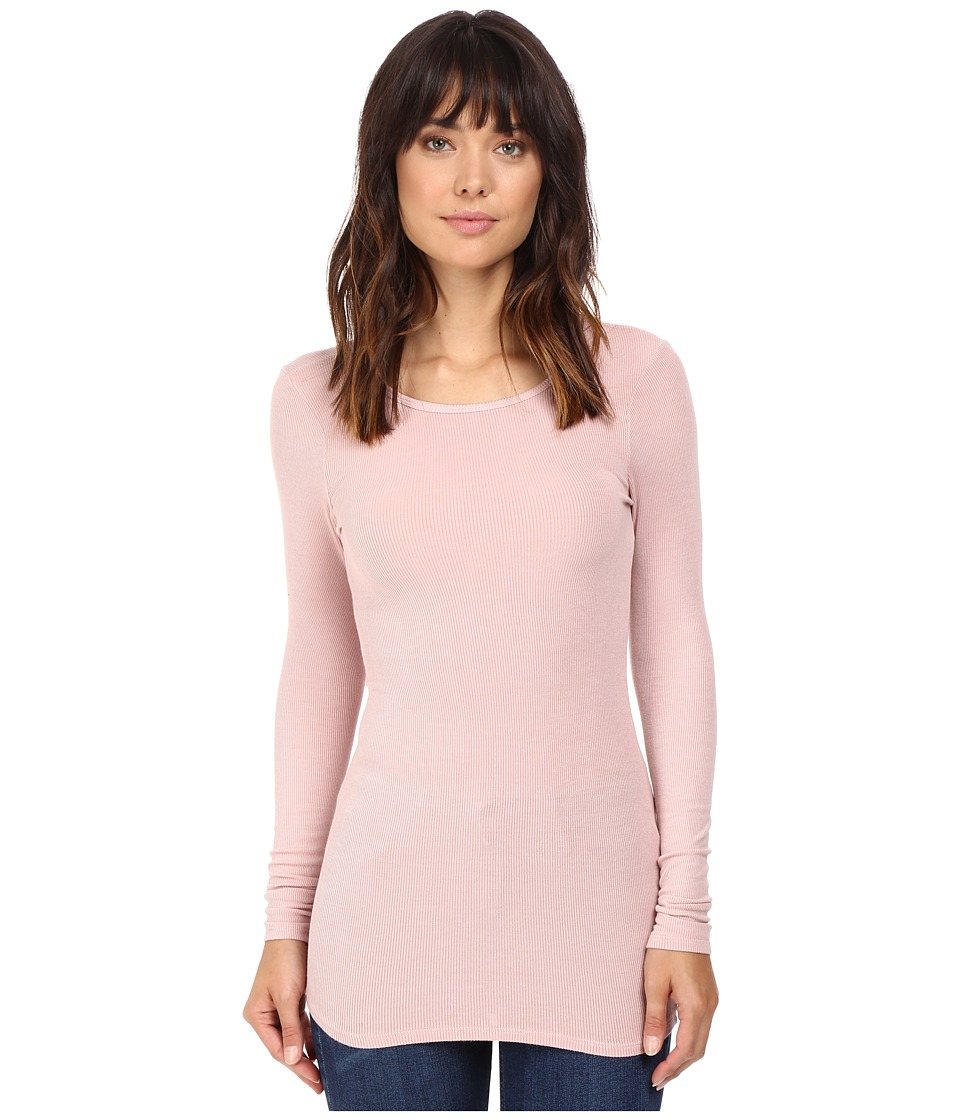 Three Dots - Long Sleeve Crew Neck (Pink Bloom) Women's Clothing
