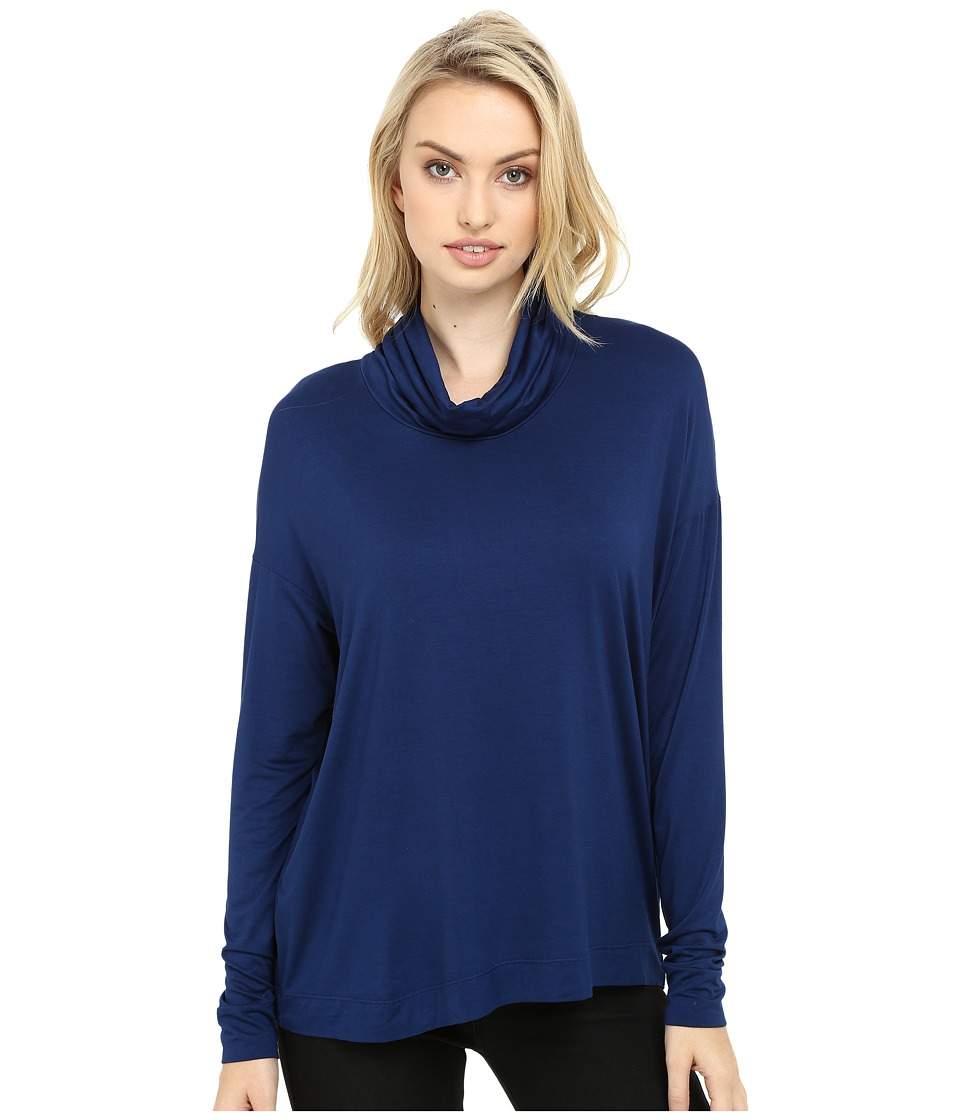 Three Dots - Shiri - Funnel Neck Swing Top (Blue Depths) Women's Clothing