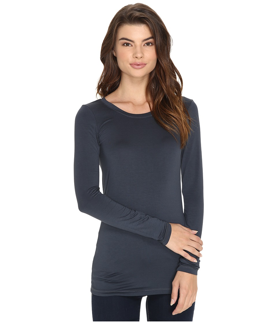 Three Dots - Lightweight Viscose L/S Open Crew Neck (Cinder) Women's Clothing