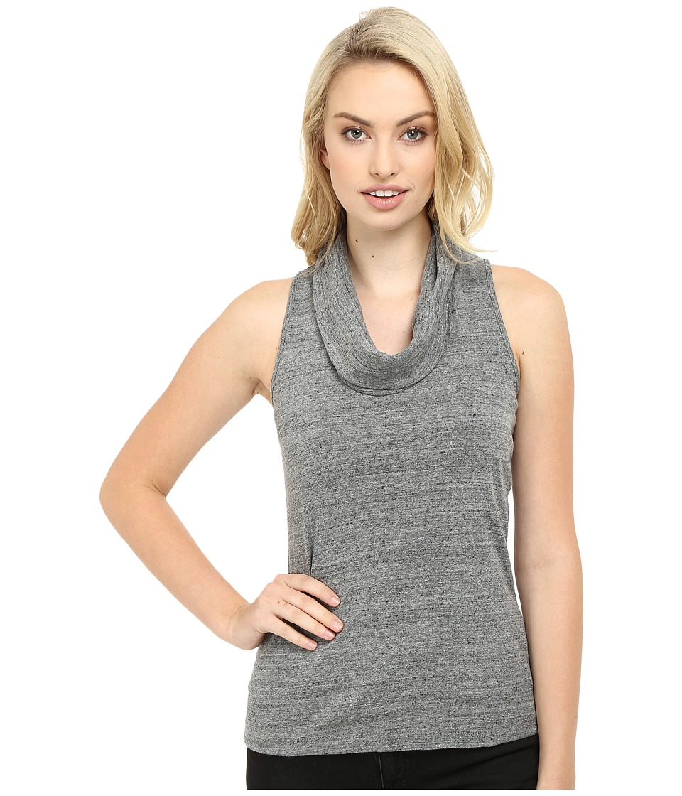 Three Dots - Sleeveless Cowl Neck (Charcoal) Women's Short Sleeve Button Up