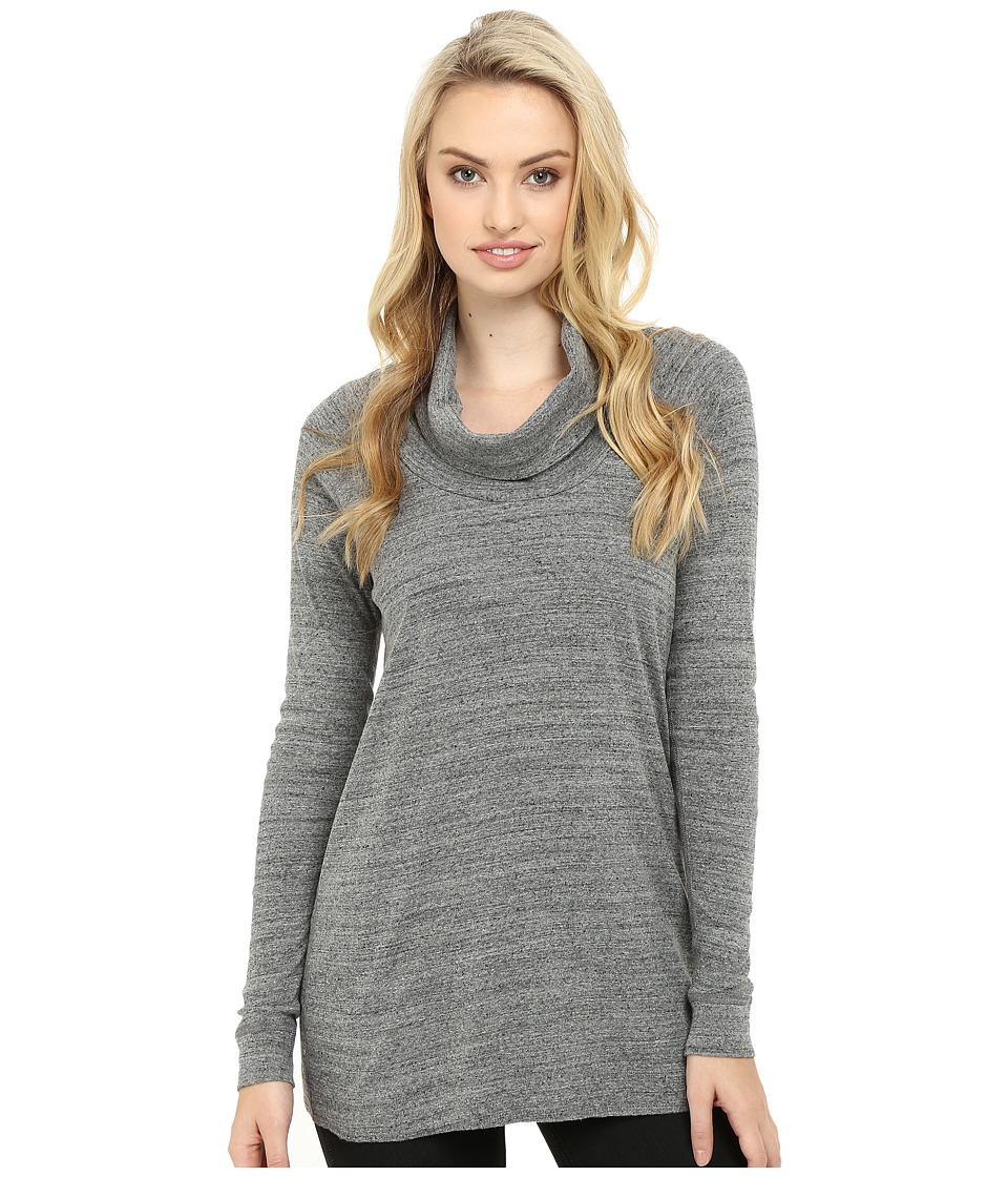 Three Dots - Mimi - Long Sleeve Funnel Neck Tunic (Charcoal) Women's Clothing