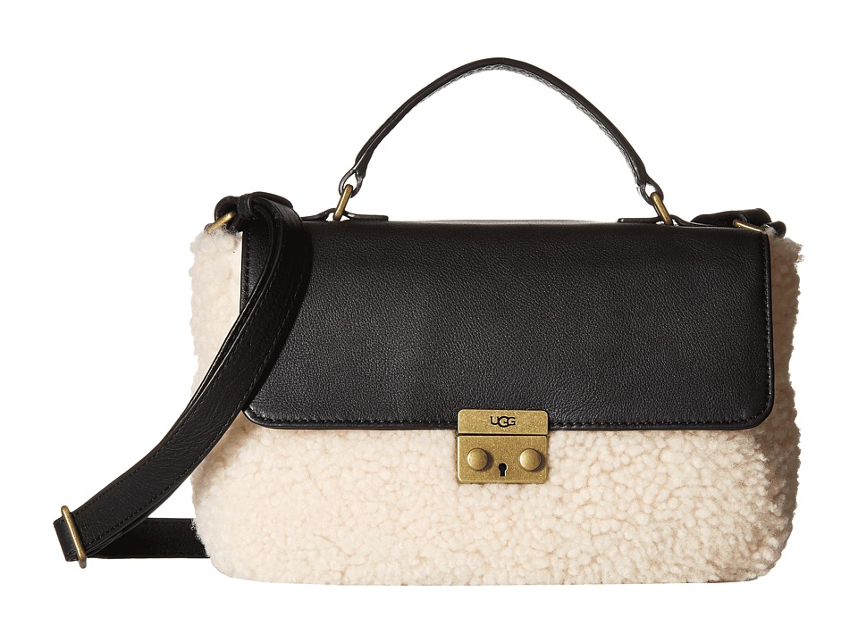 UGG - Vivenne Sheepskin Small Satchel (Black/Natural) Satchel Handbags