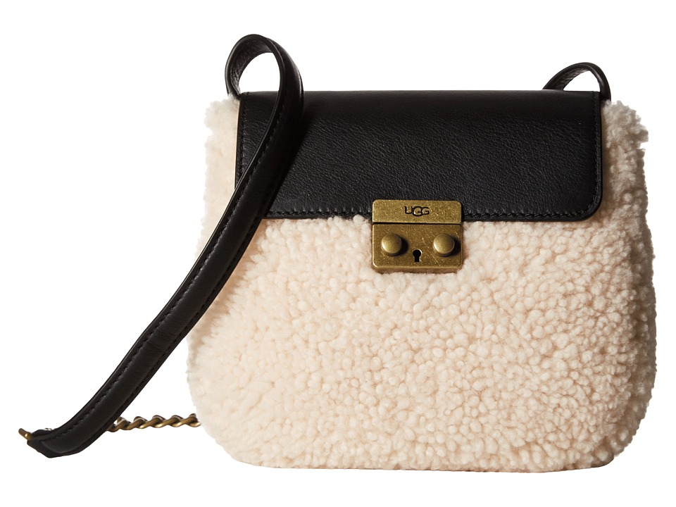 UGG - Vivenne Sheepskin Crossbody (Black/Natural) Cross Body Handbags