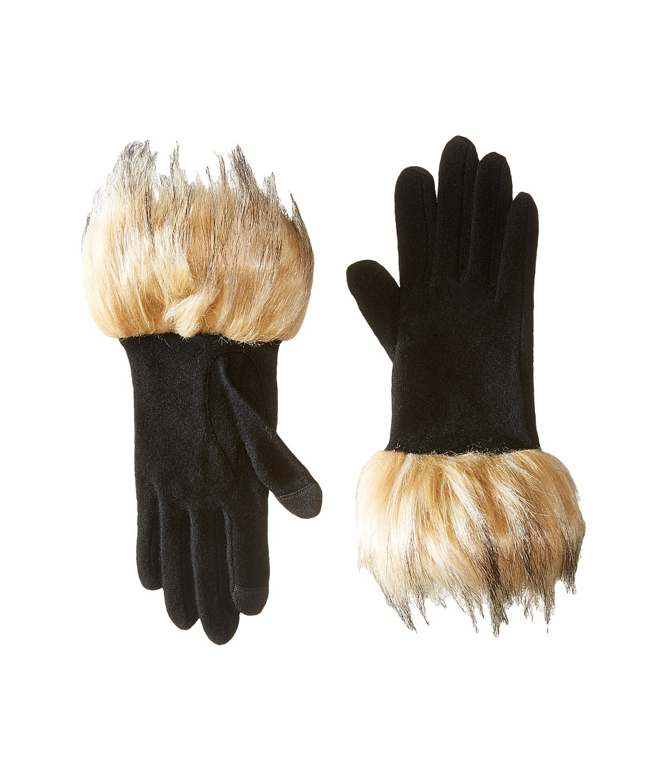LAUREN Ralph Lauren Long Gloves w/ Faux Coyote Fur (Black/Coyote Fur) Wool Gloves
