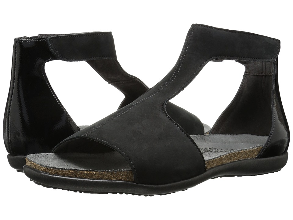 Naot Nala (Black Velvet Nubuck/Black Luster Leather) Women