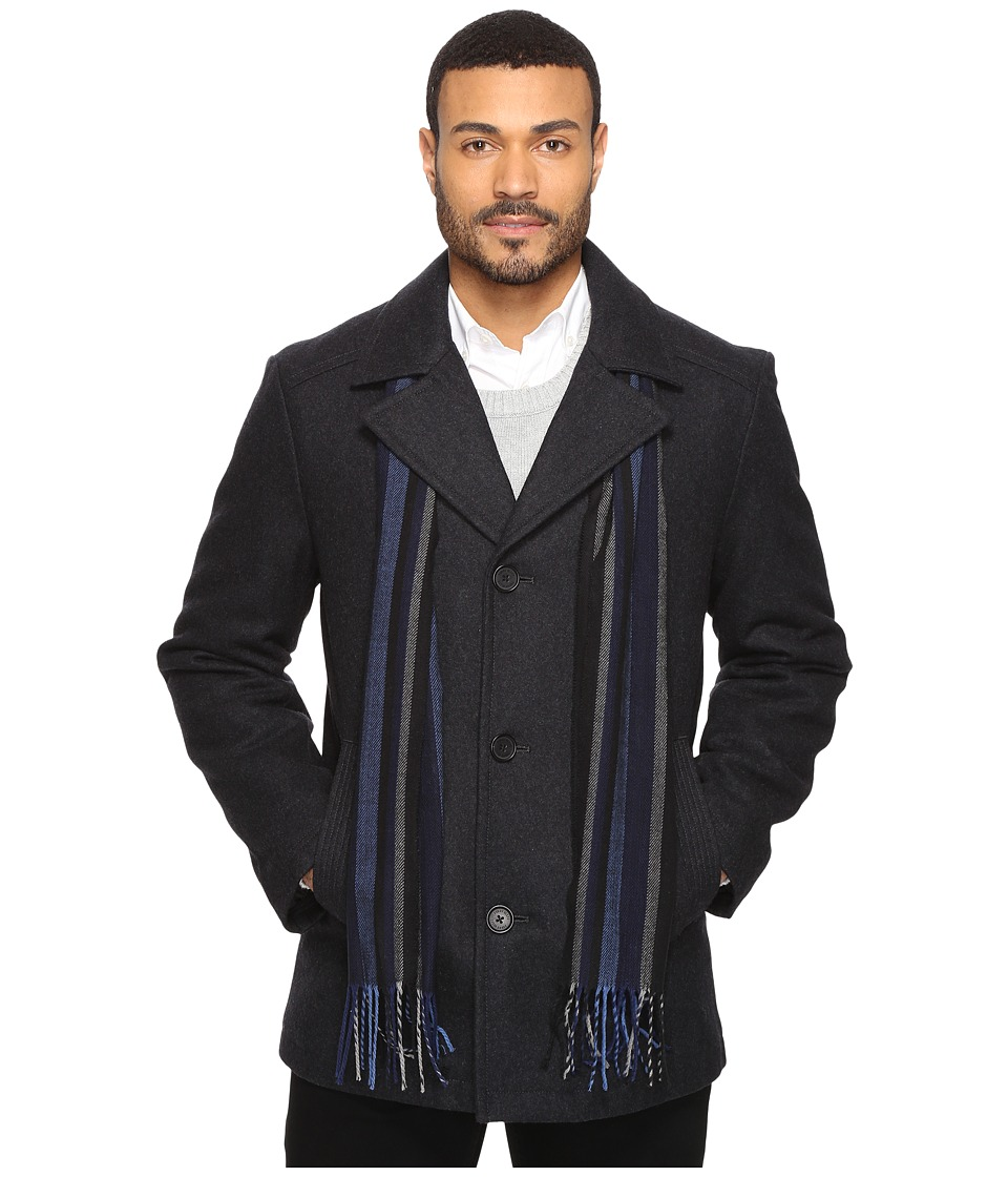 Perry Ellis - Wool Button Front with Scarf (Charcoal) Men's Coat