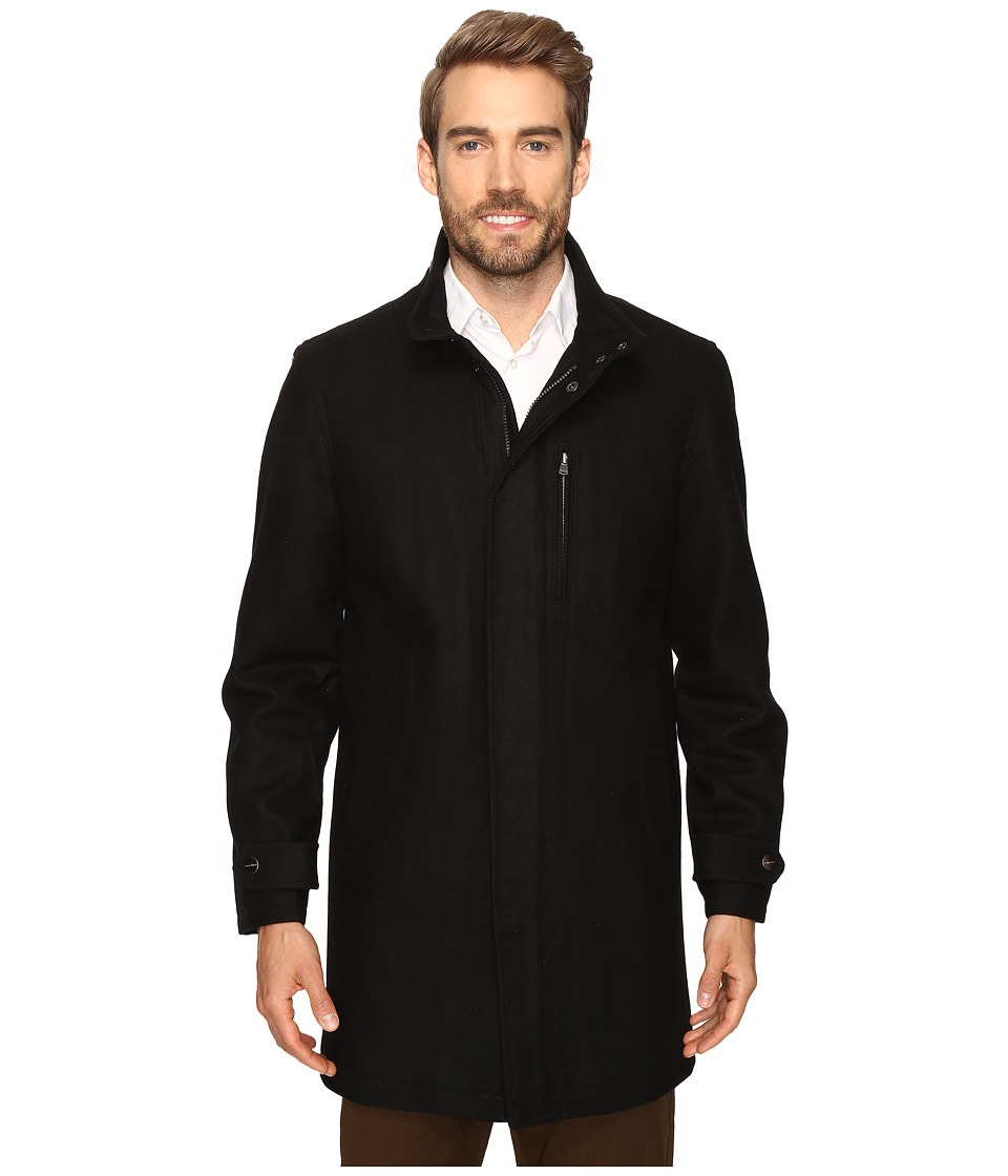 Perry Ellis - Wool Zip Front City Coat (Black) Men's Coat