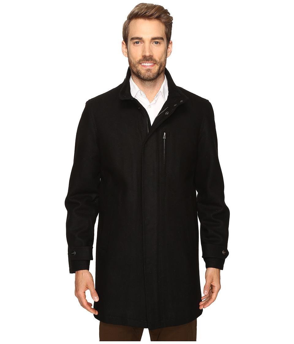 Perry Ellis - Wool Zip Front City Coat (Black) Men's Coat
