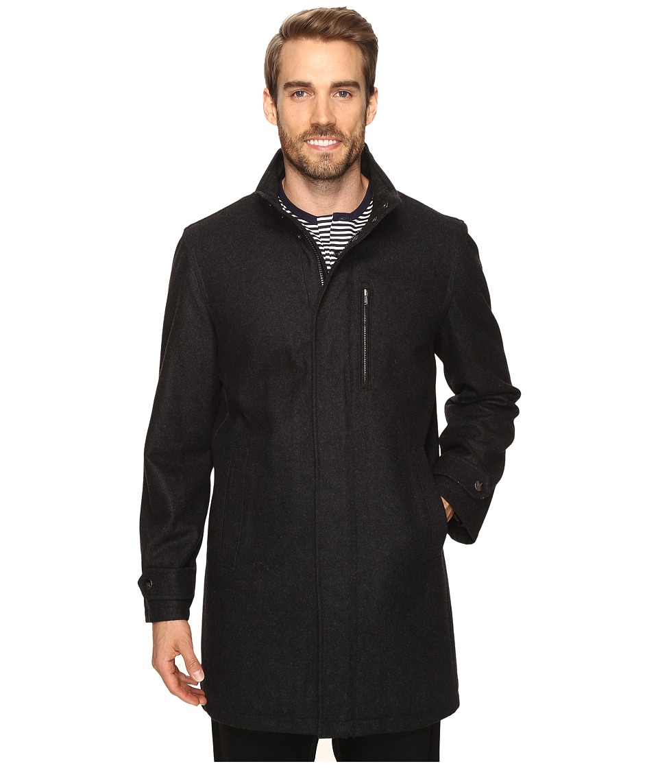 Perry Ellis - Wool Zip Front City Coat (Charcoal) Men's Coat