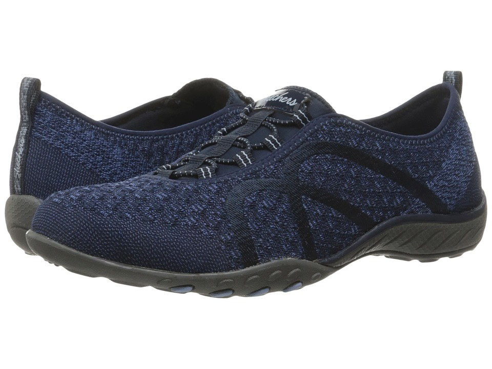 SKECHERS - Breathe-Easy - Fortuneknit (Navy) Women's Shoes