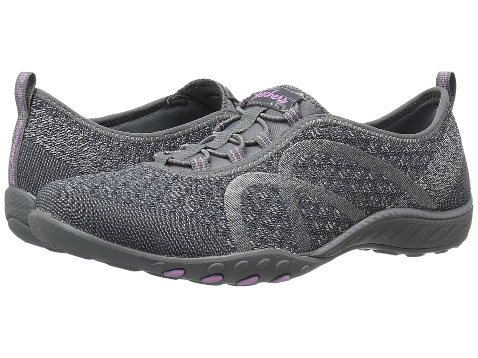 SKECHERS - Breathe-Easy - Fortuneknit (Charcoal) Women's Shoes