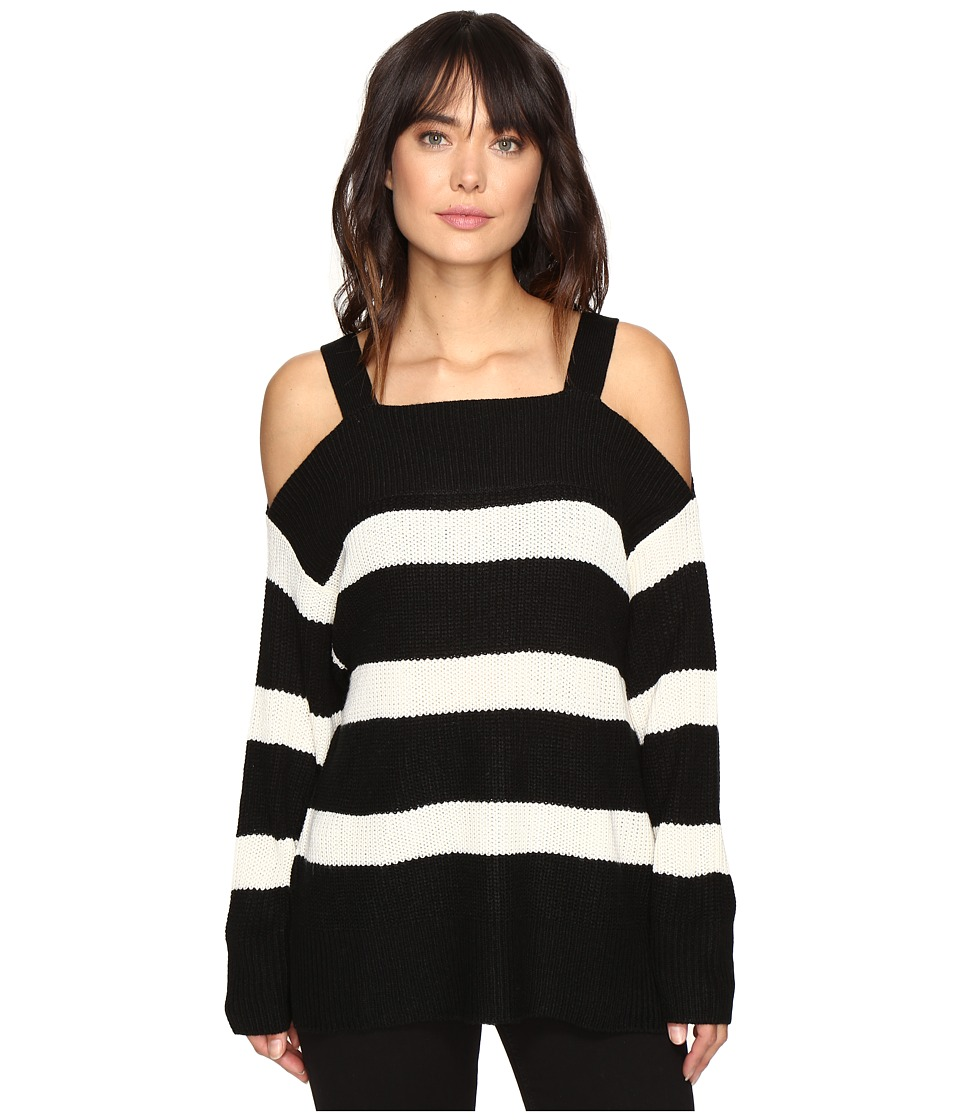 Sanctuary - Striped Amelie Bare Shoulder Sweater (Black/White Stripe) Women's Sweater