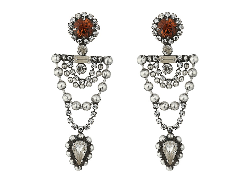 DANNIJO - MARS Earrings (Ox Silver/Clear/Smoked Topaz) Earring