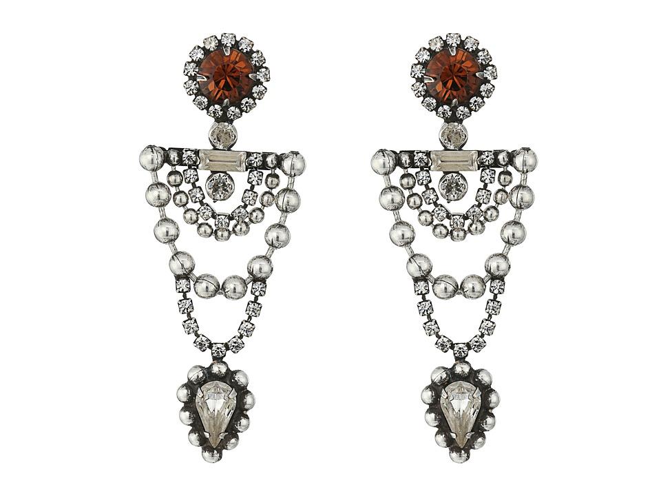 DANNIJO - MARS Earrings (Ox Silver/Clear/Smoked Topaz) Earring
