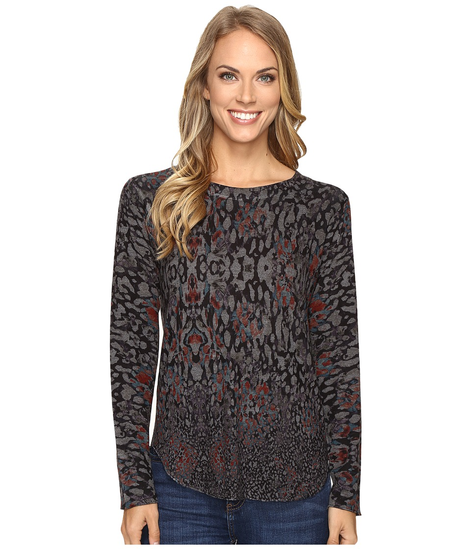 Nally & Millie - Charcoal Animal Print Top (Multi) Women's Clothing