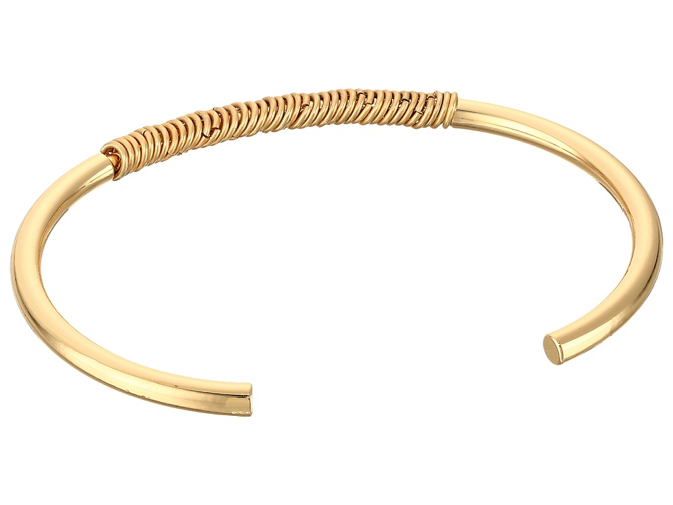 French Connection - Jump Ring Detail Thin Cuff Bracelet (Gold/Matte Gold) Bracelet