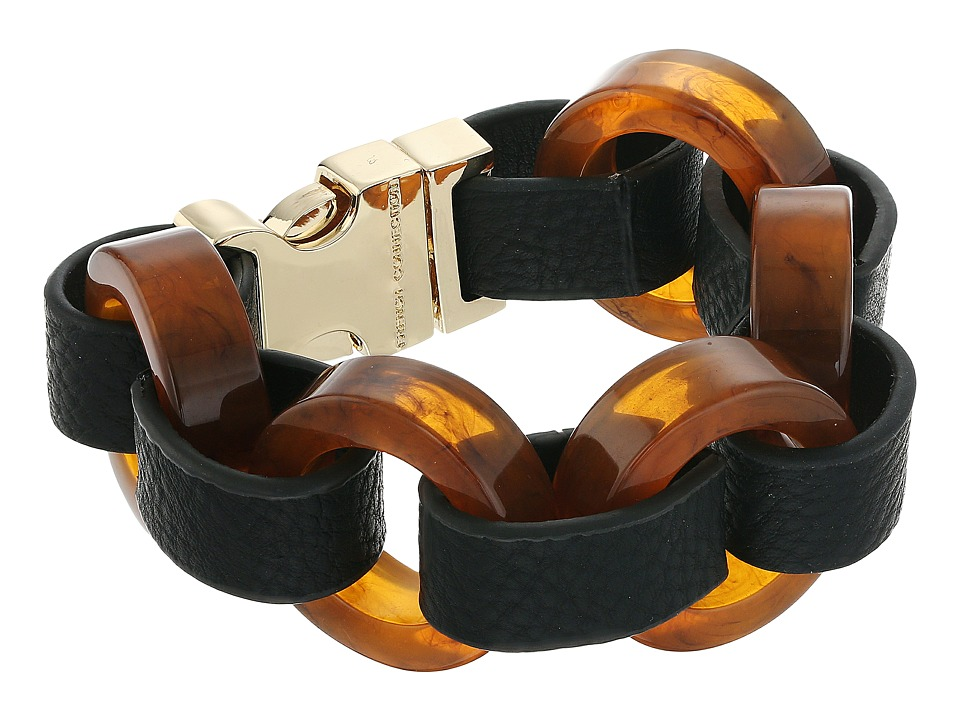 French Connection - Circle Resin and Faux Leather Link Bracelet (Gold/Tortoise) Bracelet