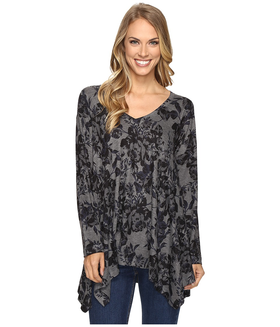 Nally & Millie - Navy Floral Print Tunic (Multi) Women's Blouse