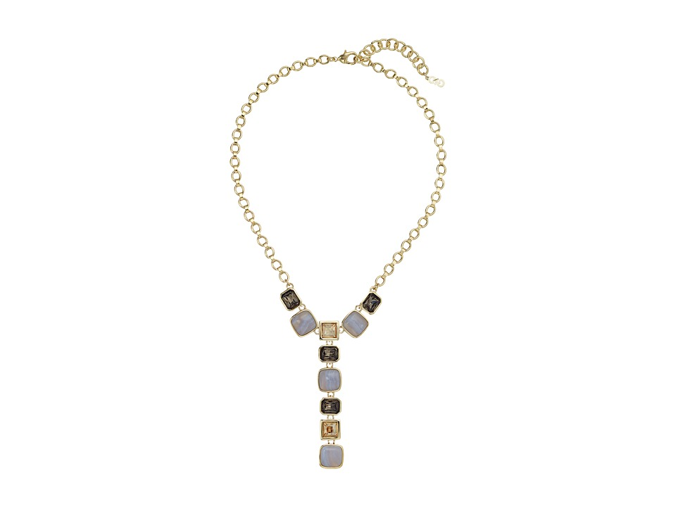 Cole Haan - Large Stone Drama Y Necklace (Gold/Golden Shadow/Blue Lace Agate/Smokey Topaz) Necklace