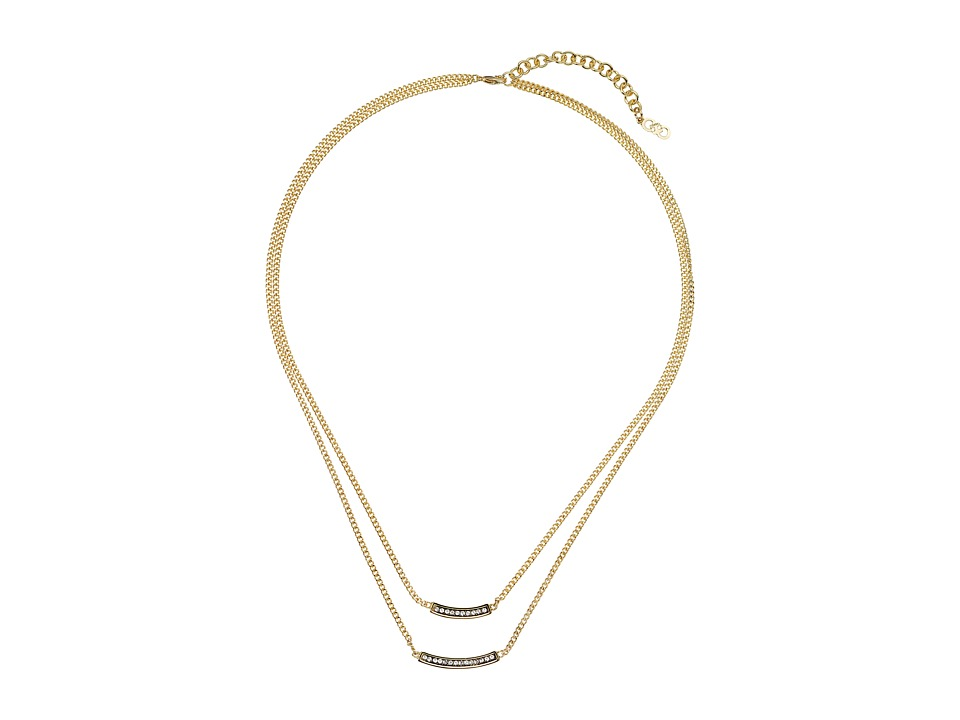 Cole Haan - 17 Double Pave Bar Necklace (Gold/Crystal) Necklace