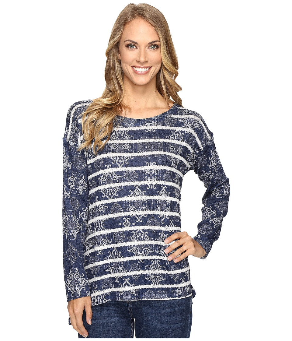 Nally & Millie - Printed Stripe Long Sleeve Top (Multi) Women's Clothing