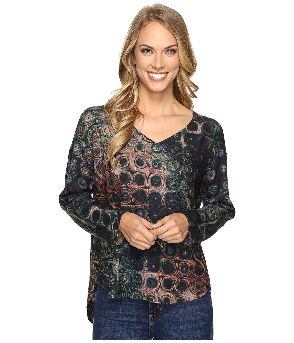 Nally & Millie - Printed Green Taupe V-Neck Tunic (Multi) Women's Blouse