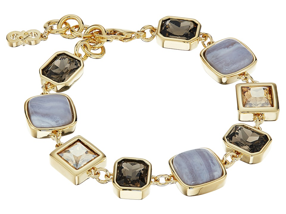 Cole Haan - Stone Line Bracelet (Gold/Golden Shadow/Blue Lace Agate/Smokey Topaz) Bracelet