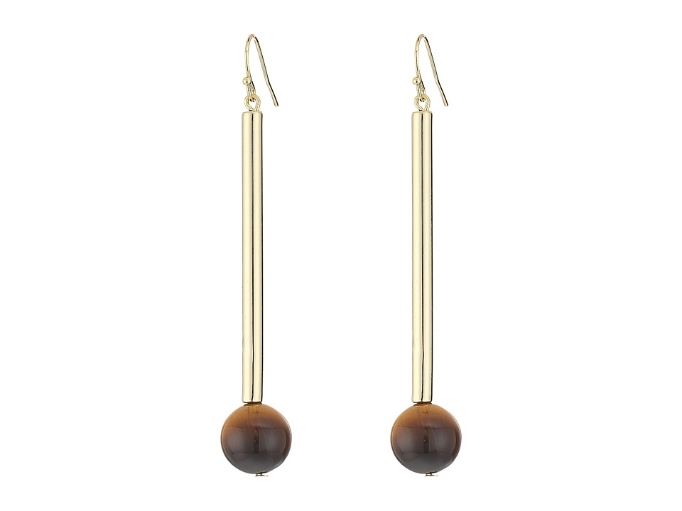 French Connection - Linear Tube Bead Drop Earrings (Gold/Brown Marble) Earring