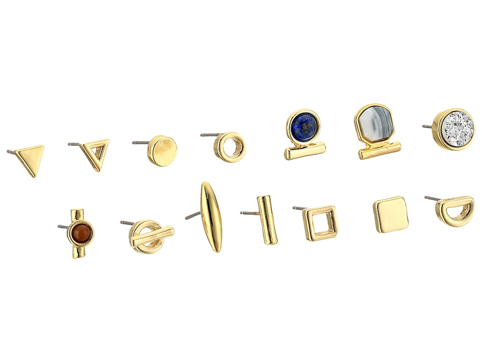 French Connection - Single Stud 15 Stud Earrings Set (Gold Multi) Earring