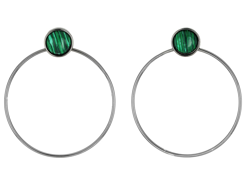 French Connection - Large Stone Gypsy Hoop Earrings (Hematite/Green Marble) Earring