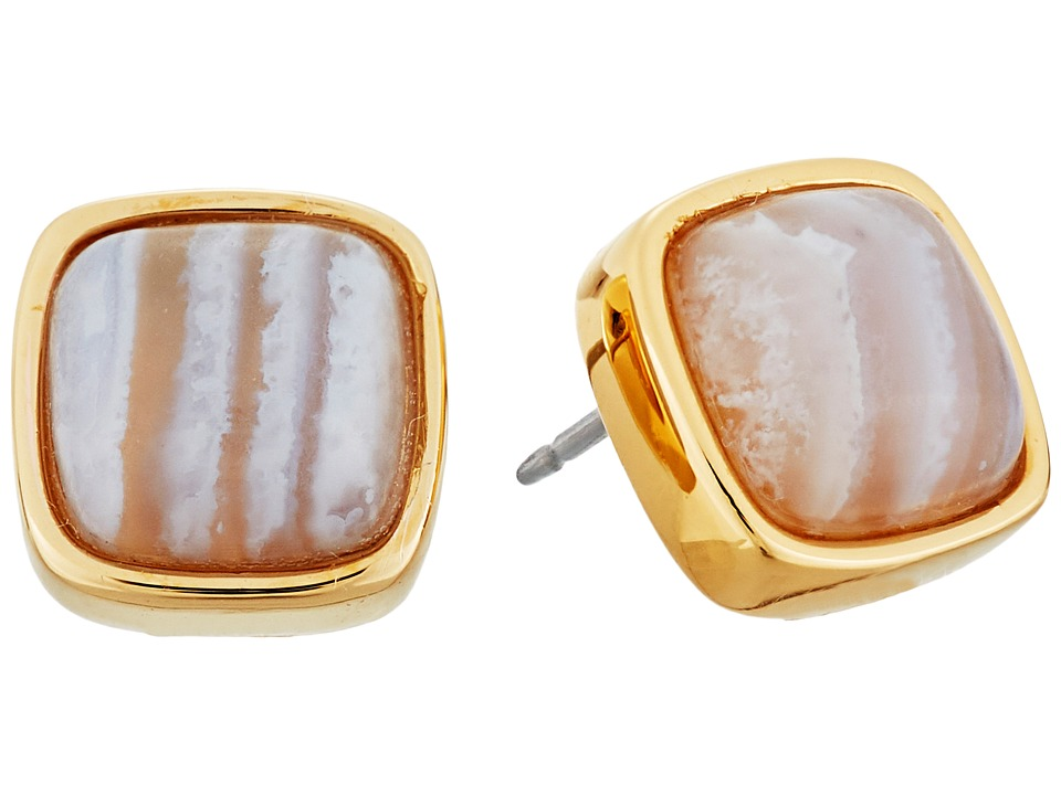 Cole Haan - Basic Stud Earrings (Gold/Blue Lace Agate) Earring