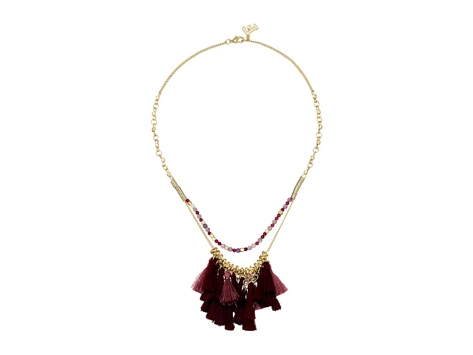 French Connection - Baby Fringe Monster Necklace (Gold/Dark Magenta Multi) Necklace